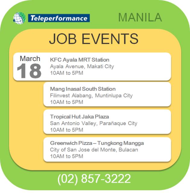 Teleperformance hiring in Metro Manila - March 18, 2014