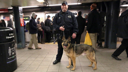 Officer Dennis Grimm with his police dog Dakota. (credit: NYPD)